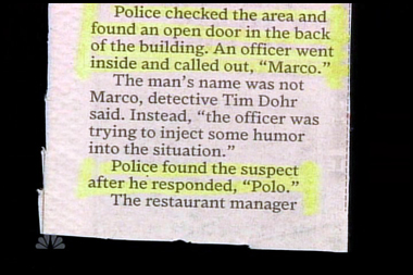 Stupid Criminal Responds to Marco Polo Game - Funny Picture